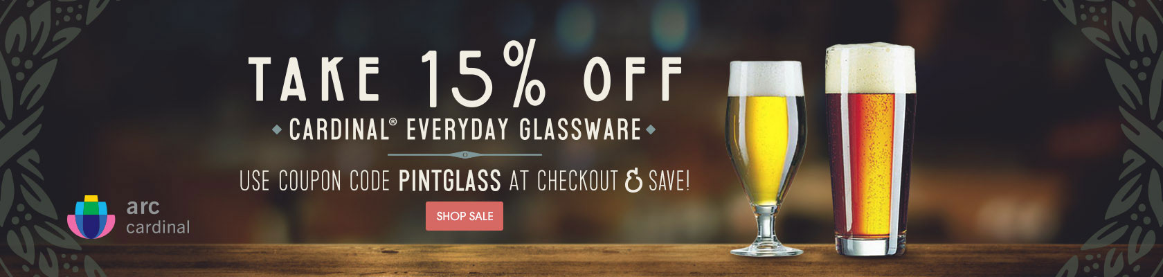 Take 15% off Cardinal® everyday glassware