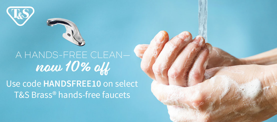 Take 10% off T&S Brass hands-free faucets