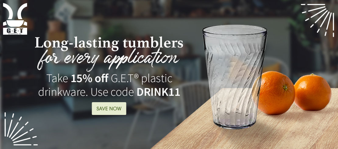Take 15% off G.E.T® plastic drinkware. Use code DRINK11