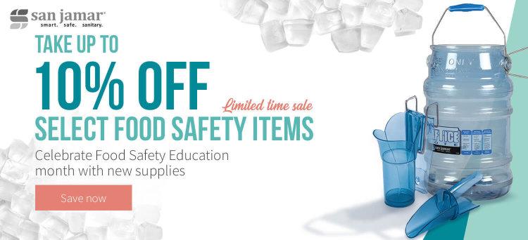 Take up to 10% off San Jamar food safety supplies